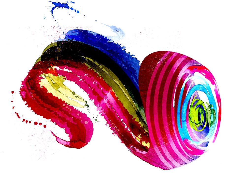 Abstract artwork: a multi-coloured, snail-like swirl