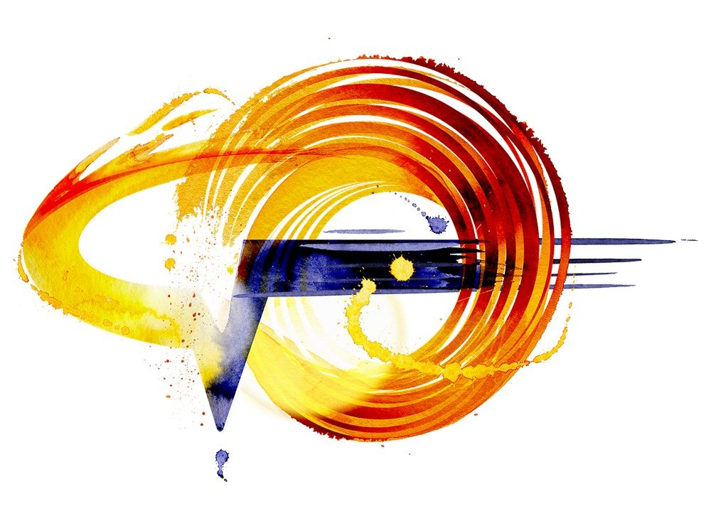 An abstract artwork: a red, orange and yellow swirl with a blue horizontal line