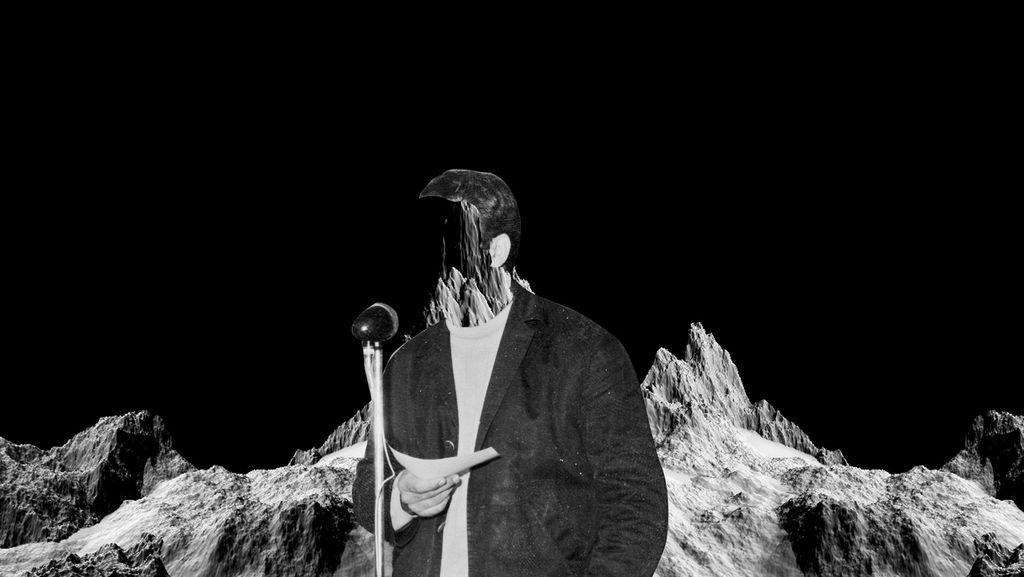 A faceless man stands in front of a microphone, with a backdrop of mountains. The whole image is black and white.
