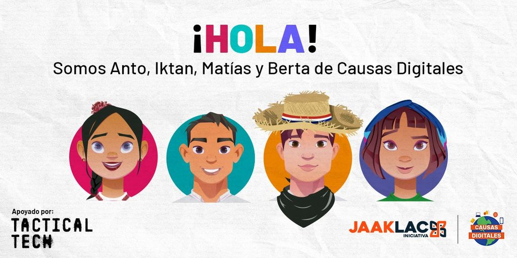 A cartoon image of the faces of four children, below the word ¡Hola!