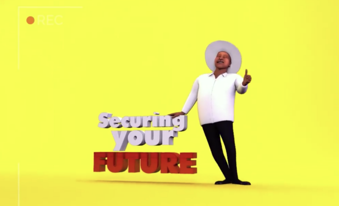 An image from the National Resistance Movement App shows a cartoon version of Ugandan president Museveni giving a thumbs-up and the words 'Securing Your Future' against a yellow background