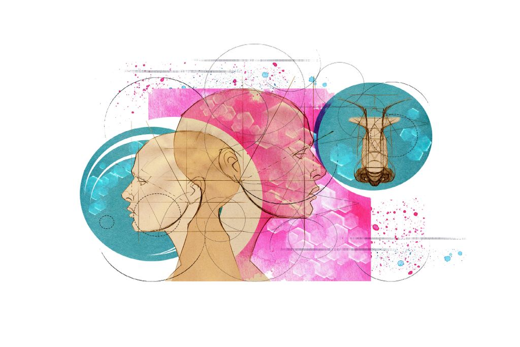 Two human faces look in opposite directions against a backdrop of abstract pink and blue shapes and concentric circles