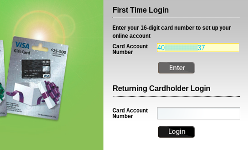 Gift card number