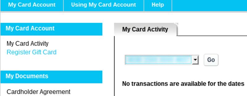 Gift card registration link