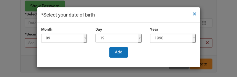 Enter fake date of birth