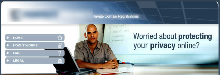 Domain privacy service homepage