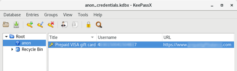 Storing prepaid gift card account details in KeePassX