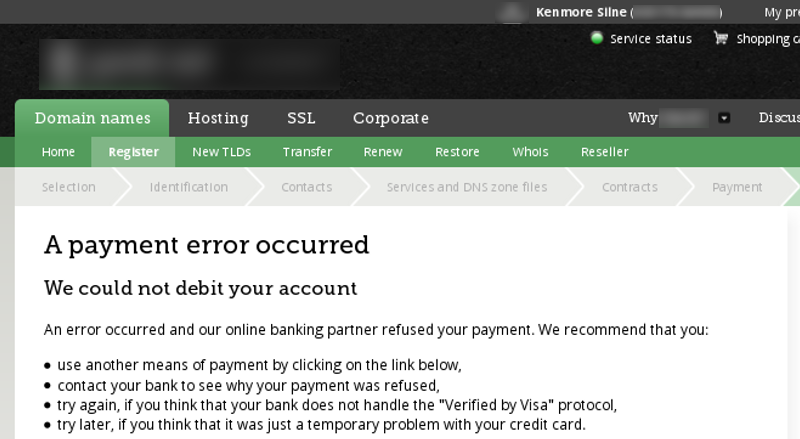 Payment rejected due to bad address