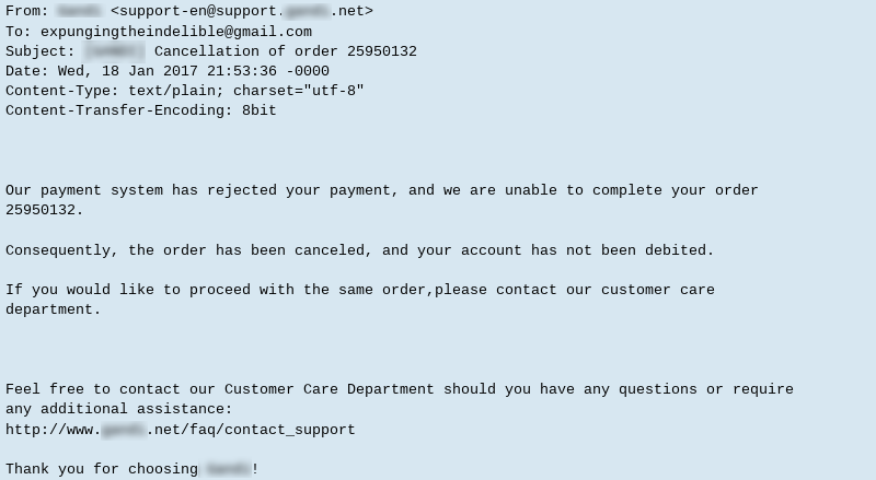 Payment rejected due to use of prepaid gift card