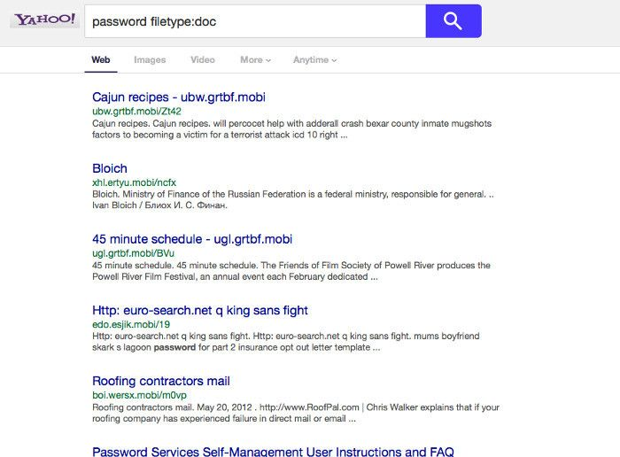 Yahoo password search results