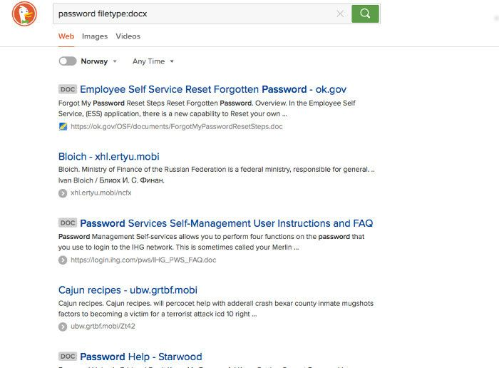 Duck Duck Go password search results