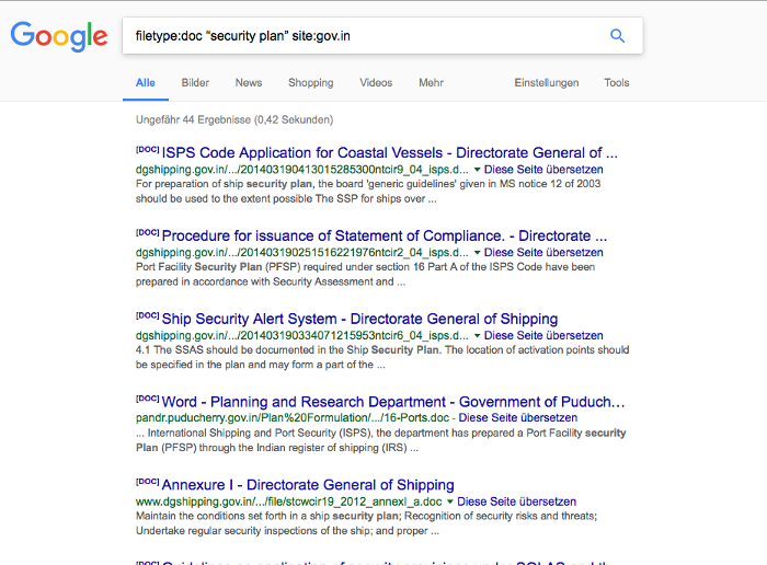 Google security search