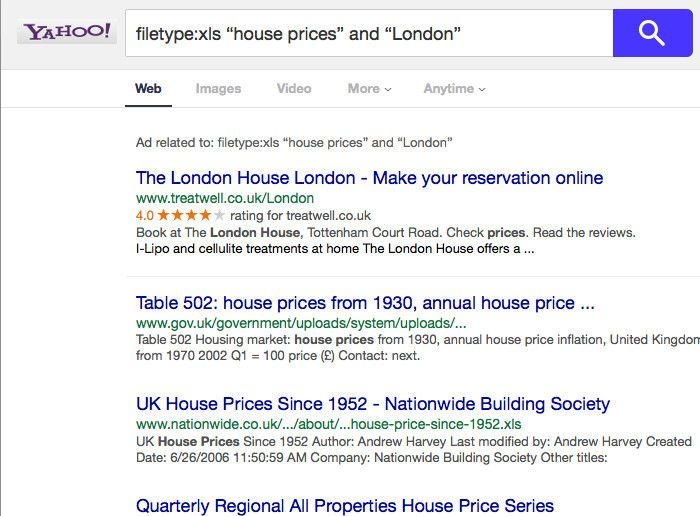 Yahoo London housing search results
