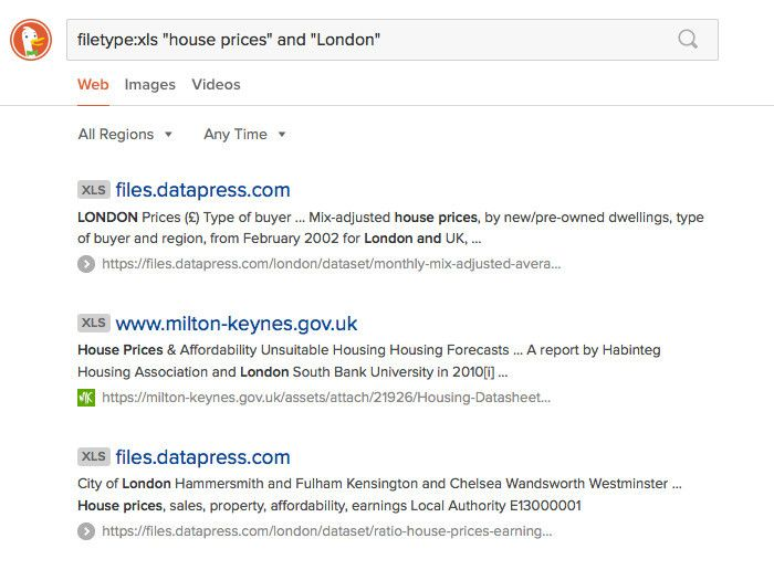 Duck Duck Go London housing search results