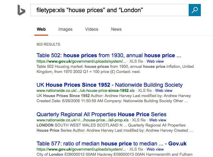 Bing London housing search results