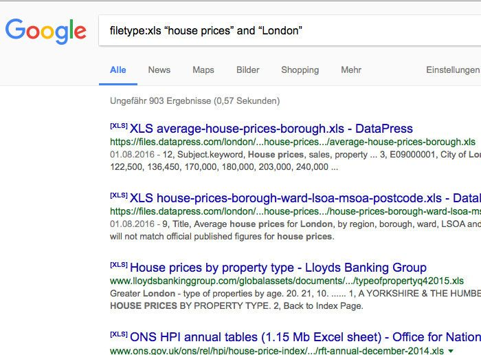 Google London housing search results