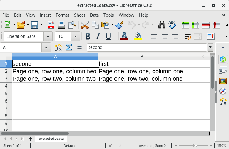 Open in LibreOffice Calc