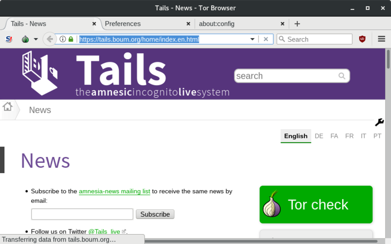 The Tails website through Tor and a VPN