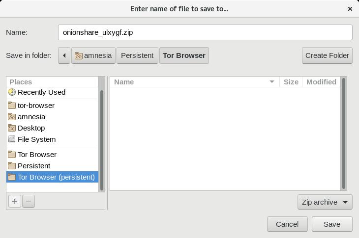 Download folder chosen