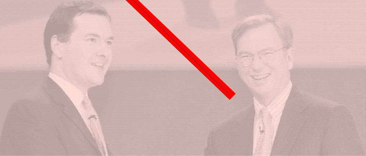photo of George Osborne and Eric Schmidt with a soft pink filter