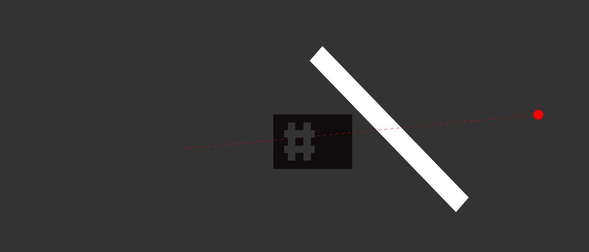 gray hashtag in a black rectangle, a white rectangle and a dashed red line on a gray background