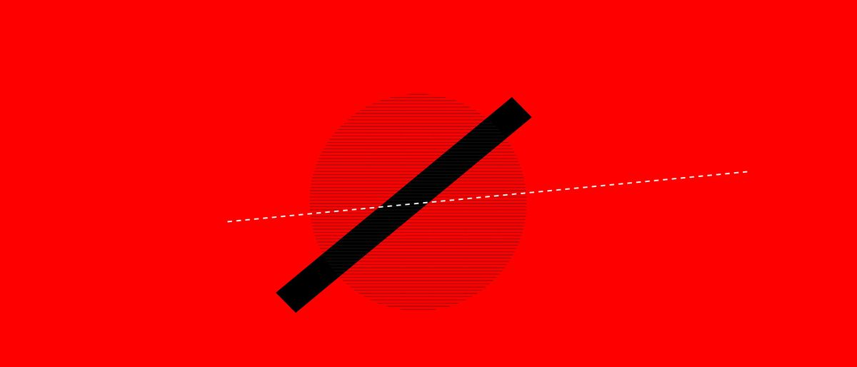 black hatched circle, dashed white line and black rectangle on red background