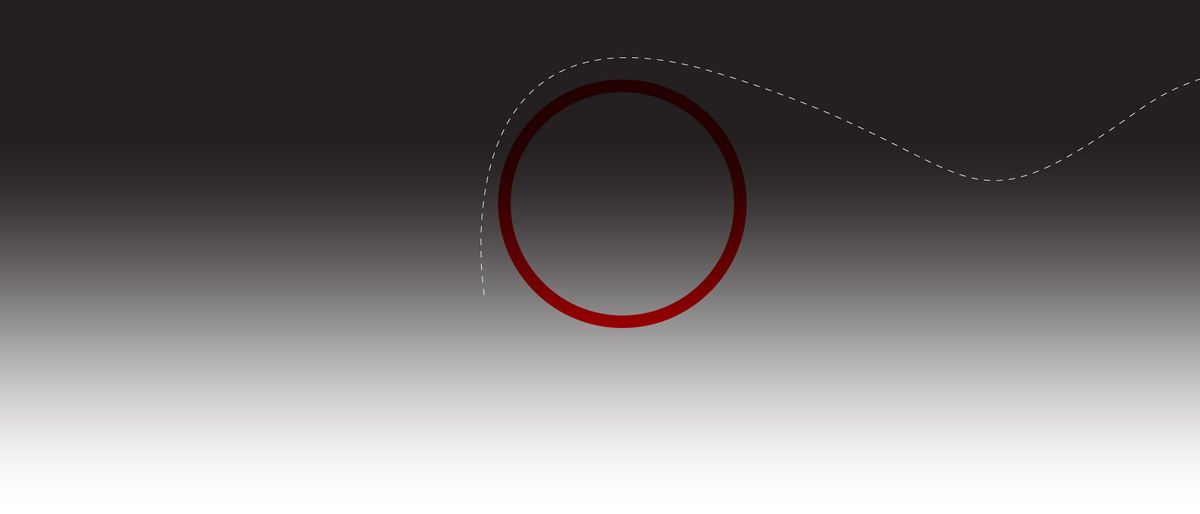 a gray background with a red circle around which leads a dashed white line