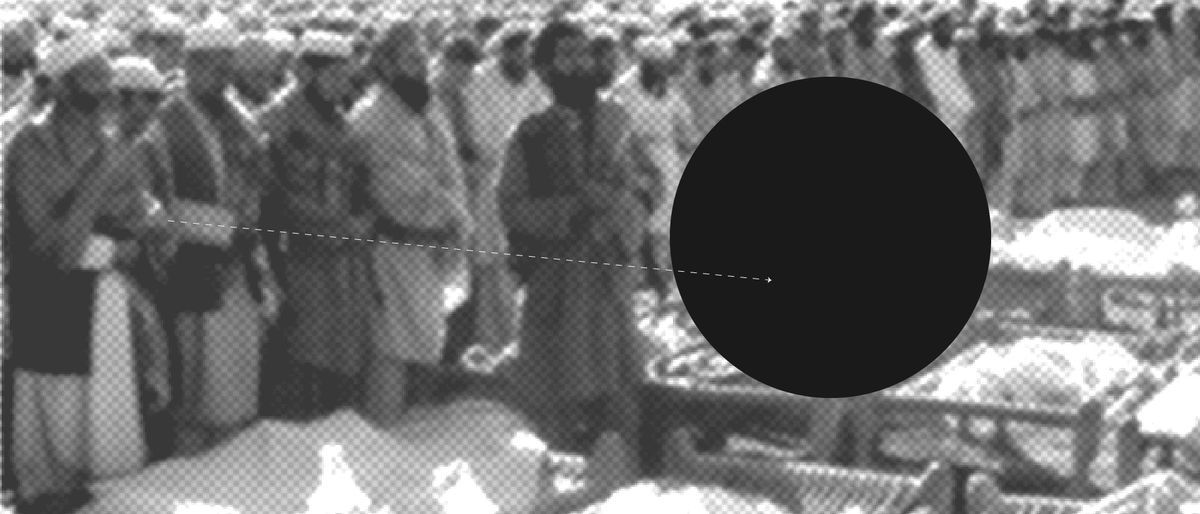 black circle over a black and white photo of a mourning crowd standing over the dead
