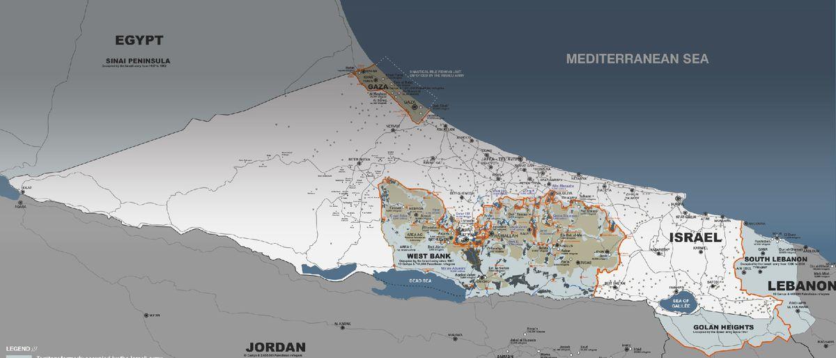 map showing Palestinian territories