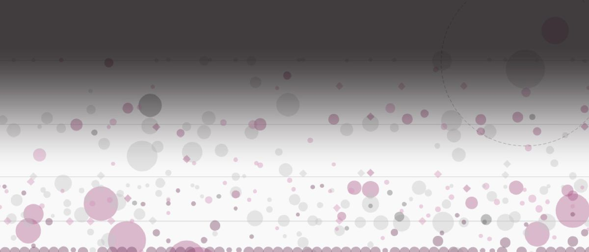 differently sized gray and pink circles and squares variously distributed on the axes