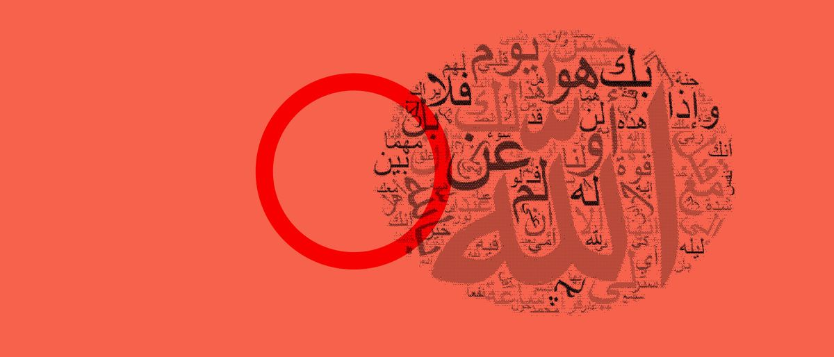 red circle and a word-cloud with an analysis of the Arabic words in a red photo filter
