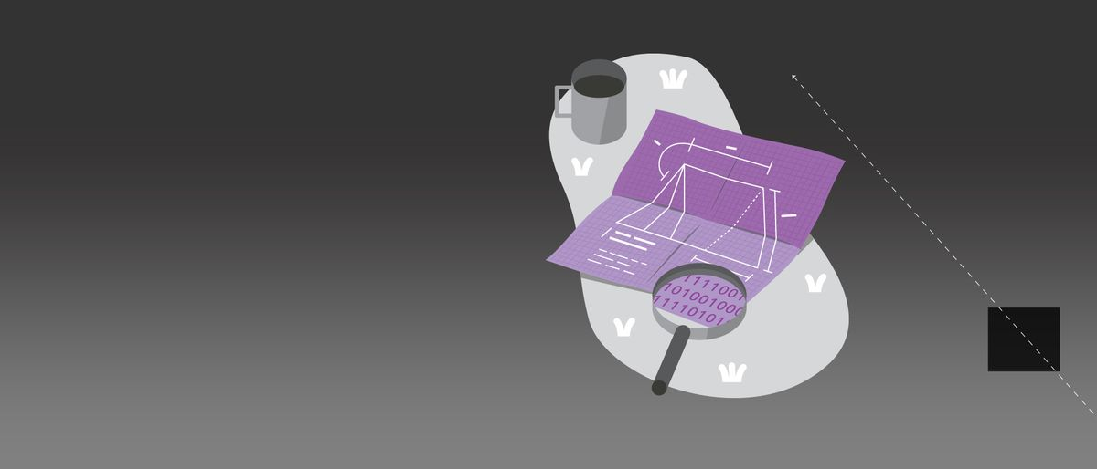 illustration of a magnifying glass revealing ones and zeros on a purple plan lying next to a cup