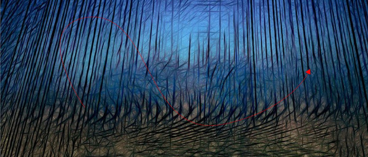 abstract painting with hatched arrow