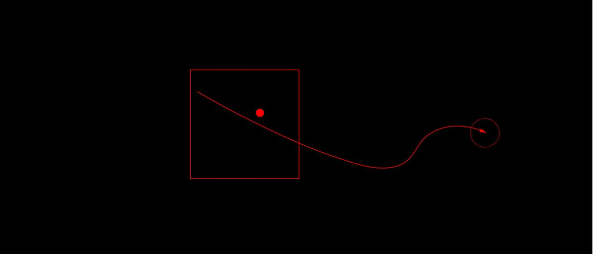 red geometric shapes on a black background