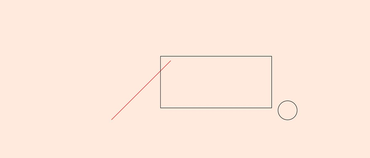 straight line, rectangle and circle on a beige background
